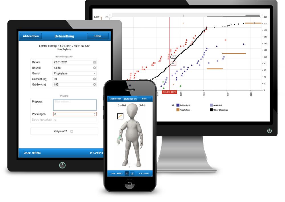 smart medication eDiary - Benutzeroberfläche